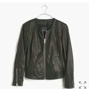 Madewell Clean Leather Jacket Black Zip Up Basic